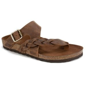 New White Mountain Brown Leather Footbed Sandals